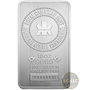 10 oz Silver Bars Royal Canadian Mint RCM .9999 Fine Bullion Ingot
