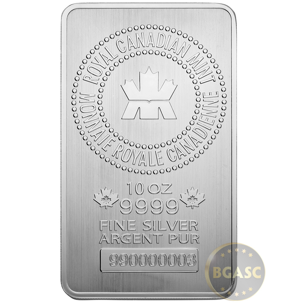 10 Oz Silver Bars Royal Canadian Mint Rcm 9999 Fine Bullion Ingot