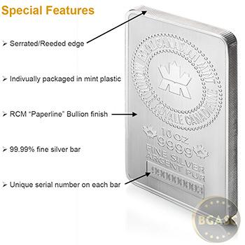10 oz Royal Canadian Mint Silver Bars .9999 Fine Silver Bullion Ingot - Image