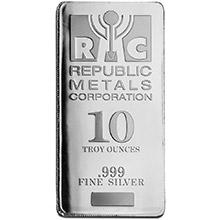 10 oz Silver Bars Republic Metals RMC Minted .999 Fine Bullion Ingot