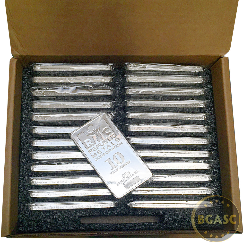 Buy 10 Oz Silver Bars Republic Metals Rmc Minted 999 Fine