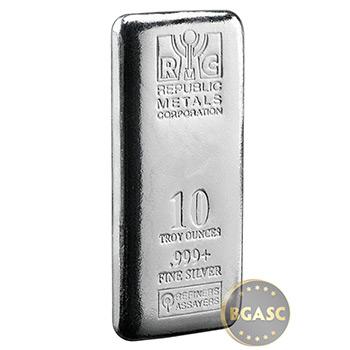10 oz Silver Bars Republic Metals RMC .999+ Fine Cast Bullion Ingot