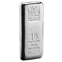 10 oz Silver Bars Republic Metals RMC .999+ Fine Cast Bullion Ingot