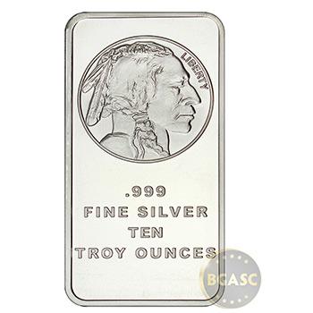 10 oz Silver Bars SilverTowne Buffalo .999 Fine Bullion Ingot