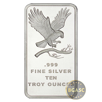 10 oz Silver Bars SilverTowne Eagle .999 Fine Bullion Ingot