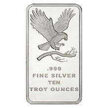 10 oz Silver Bars SilverTowne Eagle .999 Fine Bullion Ingot