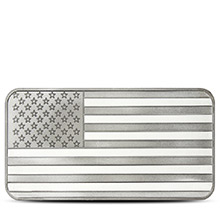 10 oz Silver Bars SilverTowne American Flag .999 Fine Bullion Ingot