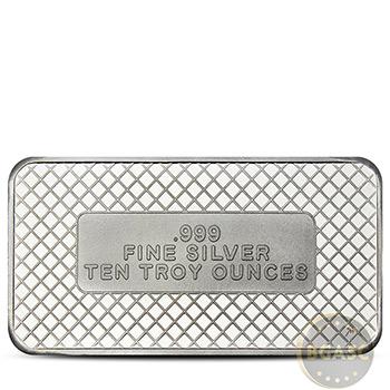 10 oz Silver Bars SilverTowne American Flag .999 Fine Bullion Ingot - Image