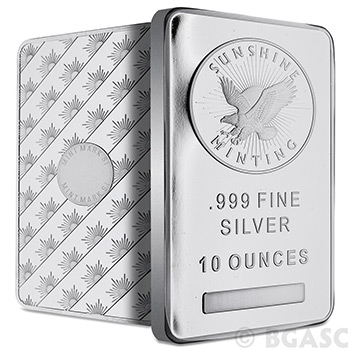 Sunshine Mint 10 oz Silver Bar Bullion Sealed .999 Fine Silver Ingot Ten Ounces - Image
