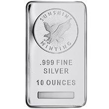 10 oz Silver Bars Sunshine Minting .999 Fine Bullion Ingot