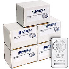 Monster Box of 10 oz Silver Bars Sunshine Minting .999 Fine Bullion Ingot (50 Bars)