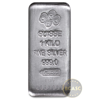 1 Kilo Silver Bar PAMP Suisse Cast (32.15 troy oz) .999 Fine Bullion Ingot (w/ Assay)