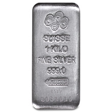 1 Kilo Silver Bar PAMP Suisse Cast (32.15 troy oz) .999 Fine Bullion Ingot