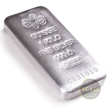 1 Kilo Silver Bar PAMP Suisse Cast 32.15 troy oz .999 Fine Bullion Ingot with Assay - Image