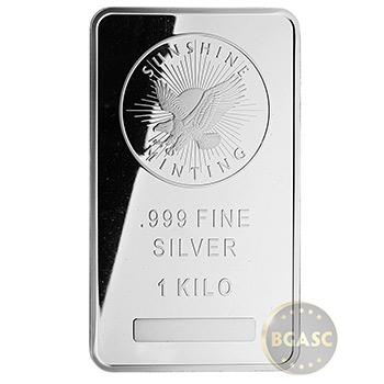 1 Kilo Silver Bar Sunshine Minting (32.15 troy oz) .999 Fine Bullion Ingot