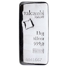 1 Kilo Silver Bar Valcambi Cast (32.15 troy oz) .999 Fine Bullion Ingot
