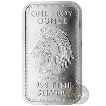 1 oz Silver Bar Aztec Calendar .999 Fine Bullion Ingot - Image