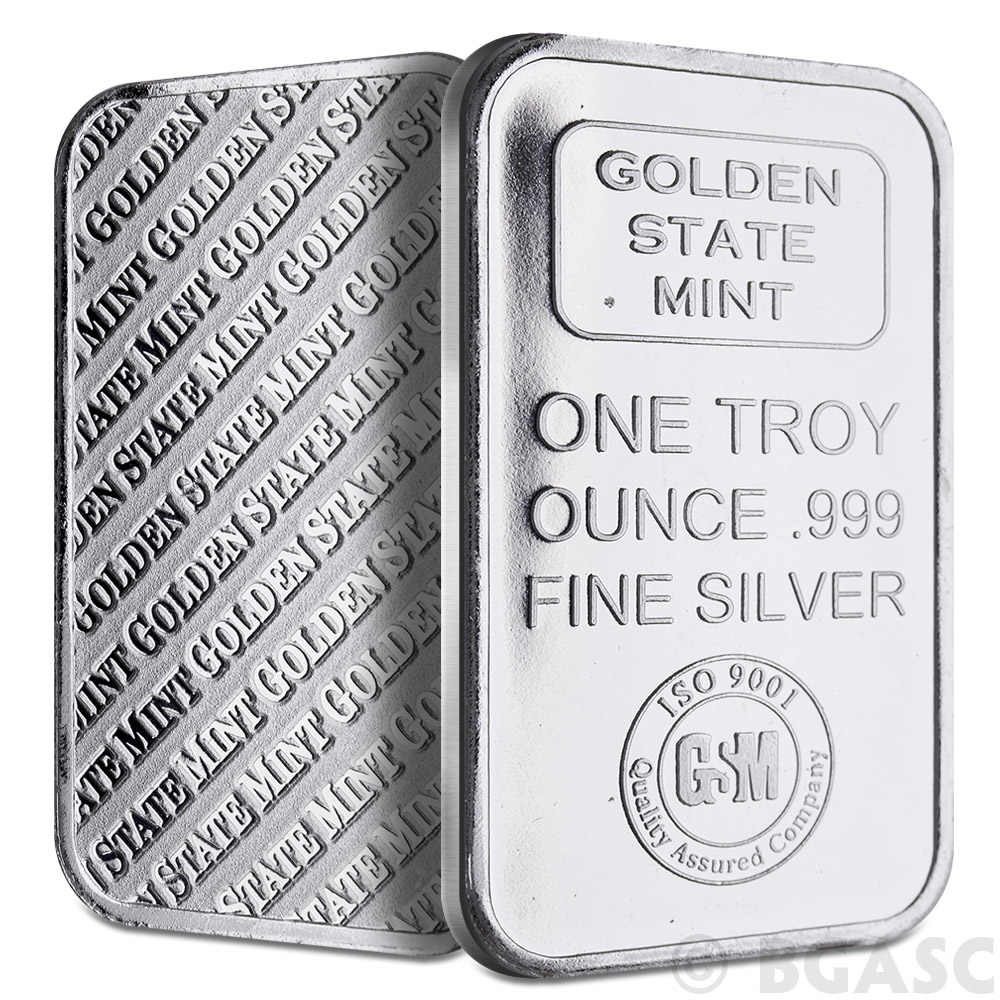 Buy 1 Oz Silver Bar Gsm Golden State Mint 999 Fine