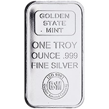 1 oz Silver Bar GSM Golden State Mint .999 Fine Bullion Ingot