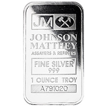 1 oz Silver Bar Johnson Matthey .999 Fine Bullion Ingot (Secondary Market)