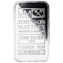 1 oz Silver Bar Johnson Matthey .999 Fine Bullion Ingot (Secondary Market)