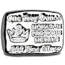 1 oz Silver Bars Monarch Hand Poured .999 Fine Bullion Loaf Ingot