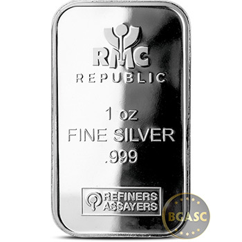 1 oz Silver Bar Republic Metals RMC .999 Fine Bullion Ingot
