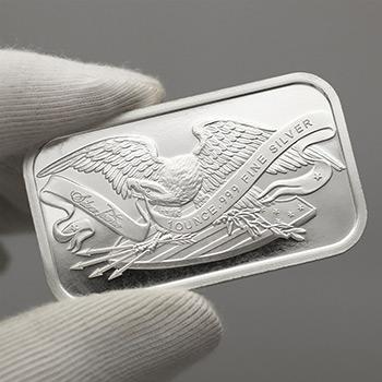 1 oz Silver Bar SilverTowne Retro Eagle & Shield .999 Fine Bullion Ingot - Image