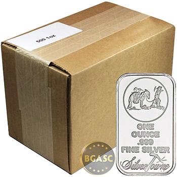 Monster Box of 1 oz SilverTowne Trademark Prospector Silver Bars .999 Fine Silver Bullion (500 Bars)