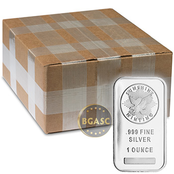 Monster Box of 1 oz Sunshine Minting Silver Bars .999 Fine Bullion with Security Feature (500 Bars)