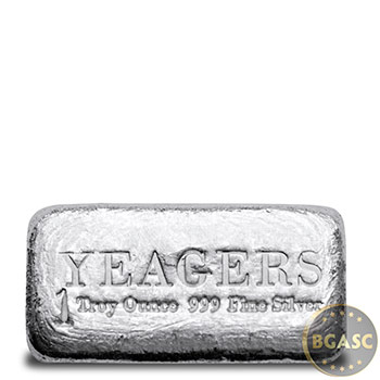 1 oz Silver Bars Yeager's Poured .999 Fine Bullion Loaf Ingot
