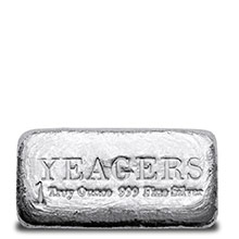 1 oz Silver Bars Yeager's Poured .999 Fine Bullion Loaf Ingot