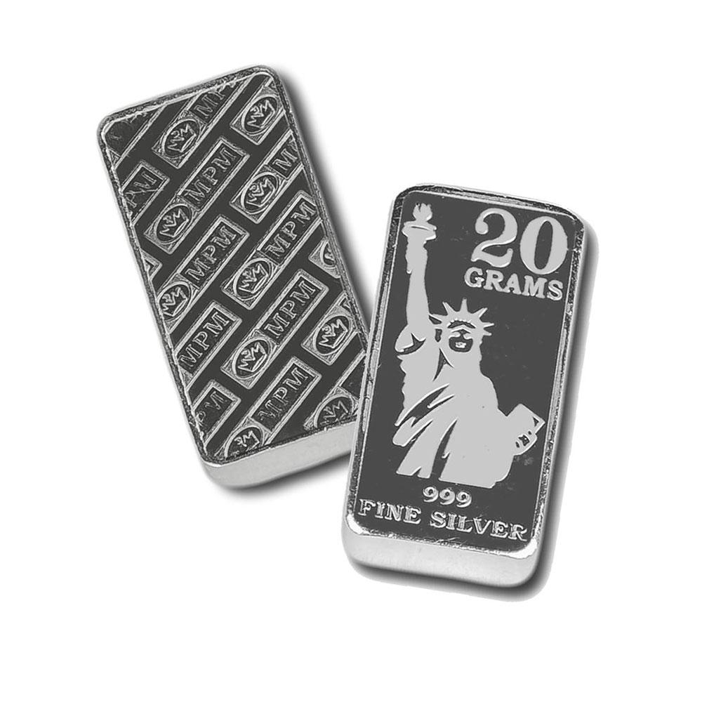 1 Gram .999 Fine Silver Bar Statue of Liberty