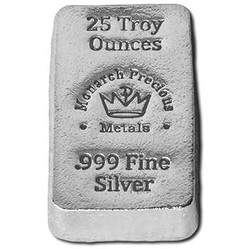 25 oz Silver Bars Monarch Hand Poured .999 Fine Bullion Loaf Ingot
