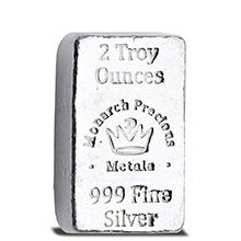 2 oz Silver Bars Monarch Hand Poured .999 Fine Lil' Chunky Bullion Loaf Ingot