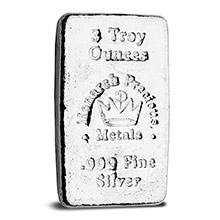 3 oz Silver Bars Monarch Hand Poured .999 Fine Bullion Loaf Ingot