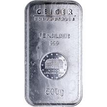 500 gram Silver Bars Geiger Security Line .999 Fine Bullion Ingot (Secondary Market)