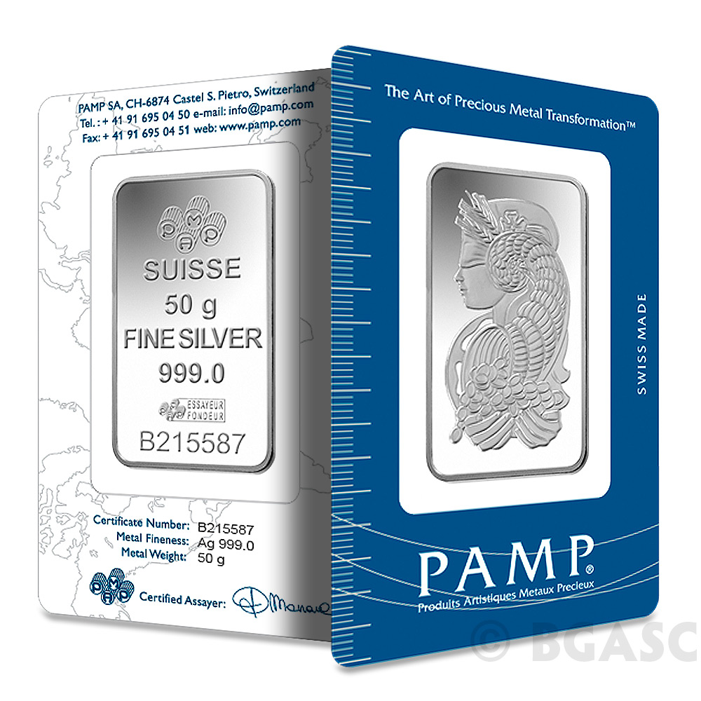 Buy 50 Gram Pamp Suisse Fortuna Silver Bullion Sealed Bar