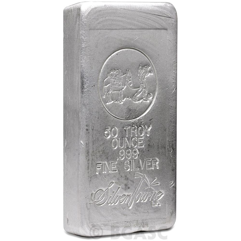 Buy 50 Oz Silver Bar Silvertowne Hand Poured 999 Fine Bullion Loaf Ingot Special