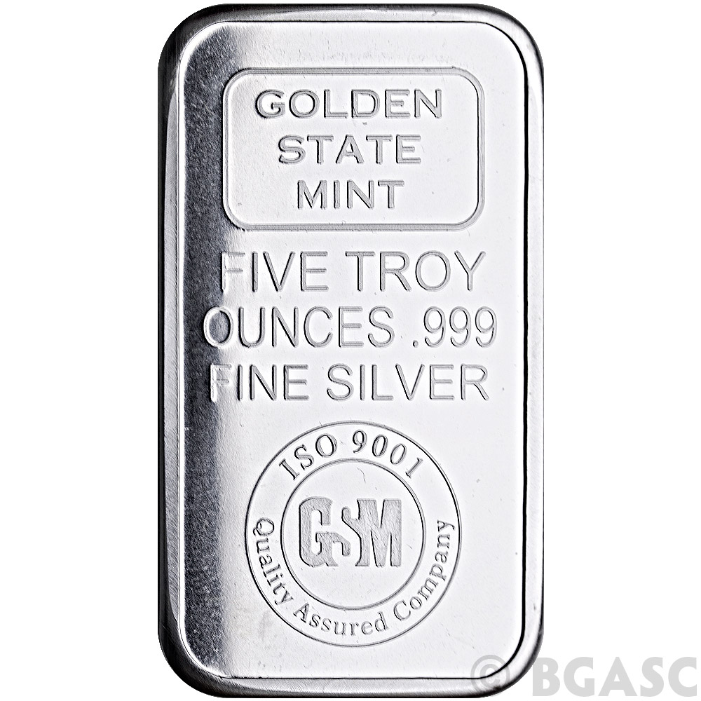 Buy 5 Oz Silver Bars Golden State Mint Gsm Logo 999 Fine
