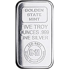 5 oz Silver Bars Golden State Mint GSM Logo .999 Fine Bullion Ingot