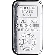 5 oz Silver Bars Golden State Mint GSM Logo .999 Fine Bullion Ingot