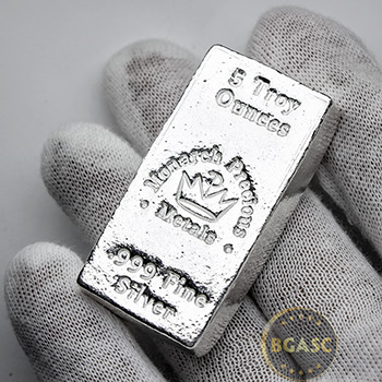 5 oz Silver Bars Monarch Hand Poured .999 Fine Bullion Loaf Ingot - Image