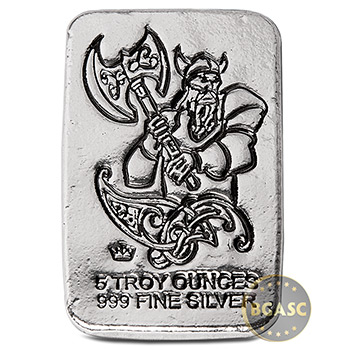 5 oz Silver Bars Monarch Viking Warrior with Battle Axe Hand Poured .999 Fine Bullion Ingot