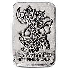 5 oz Silver Bars Monarch Viking Warrior with Battle Axe Hand Poured .999 Fine Bullion Ingot