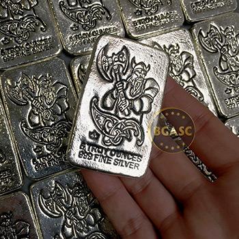 5 oz Silver Bars Monarch Viking Warrior with Battle Axe Hand Poured .999 Fine Bullion Ingot - Image