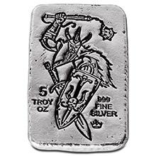 5 oz Silver Bars Monarch Viking Warrior with Shield Hand Poured .999 Fine Bullion Ingot