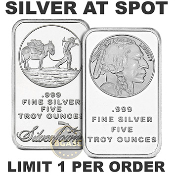 5 oz Silver Bar AT SPOT (Design Our Choice) - Read Offer Details
