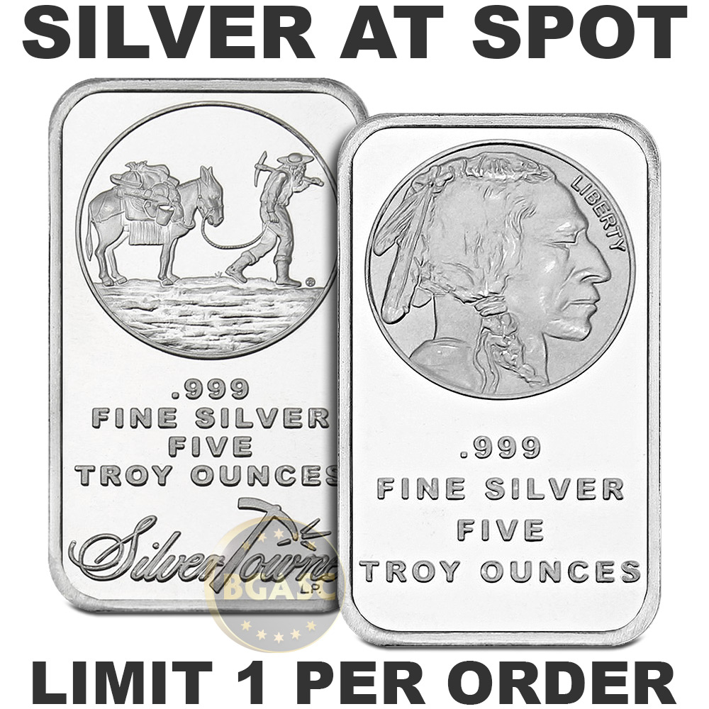 5 Oz Of Silver Bars At Spot From