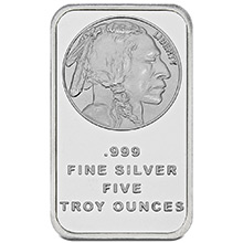 5 oz Silver Bars SilverTowne Buffalo Design .999 Fine Bullion Ingot